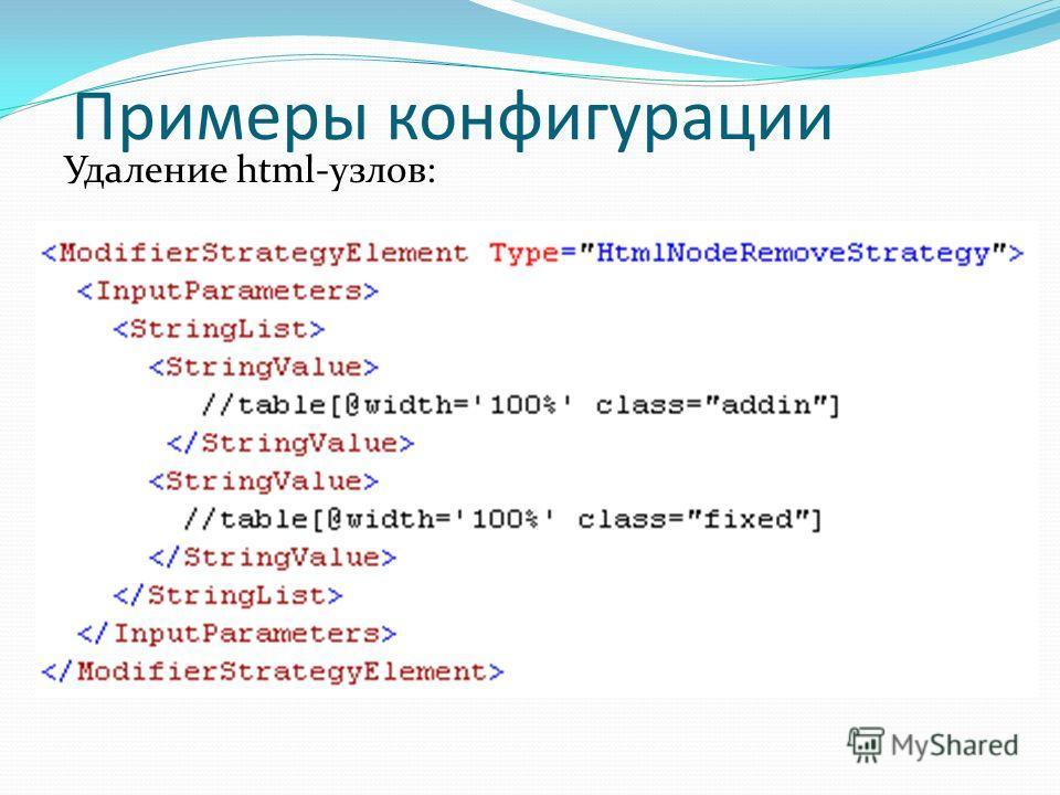 Примеры конфигурации Удаление html-узлов: