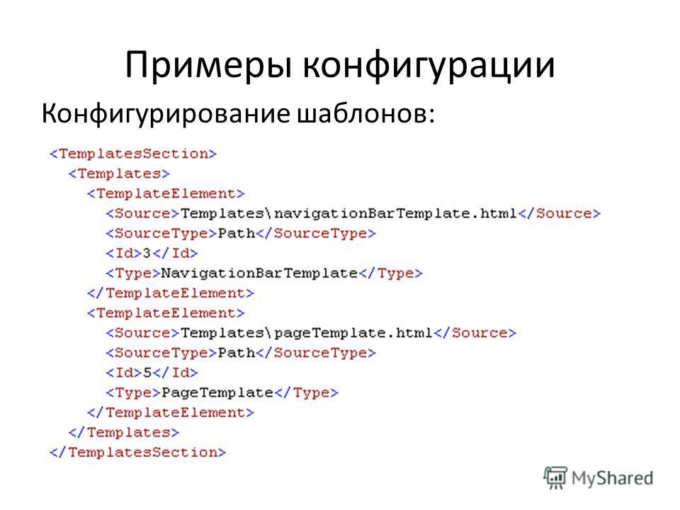 Примеры конфигурации Конфигурирование шаблонов:
