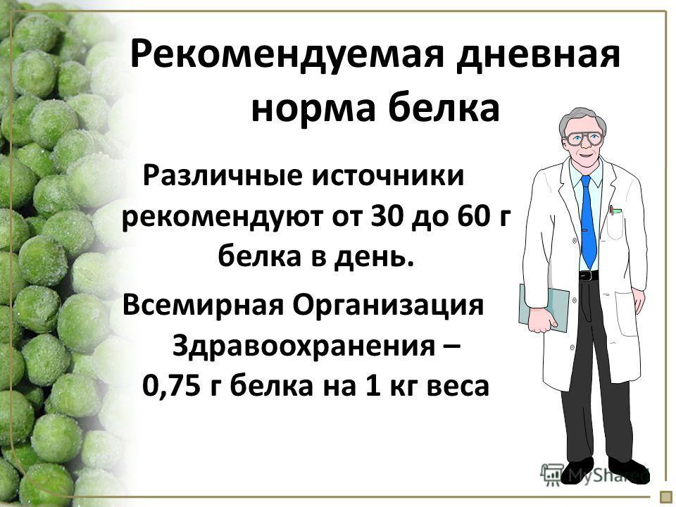 Различные источники рекомендуют от 30 до 60 г белка в день. Всемирная Организация Здравоохранения – 0,75 г белка на 1 кг веса Рекомендуемая дневная норма белка