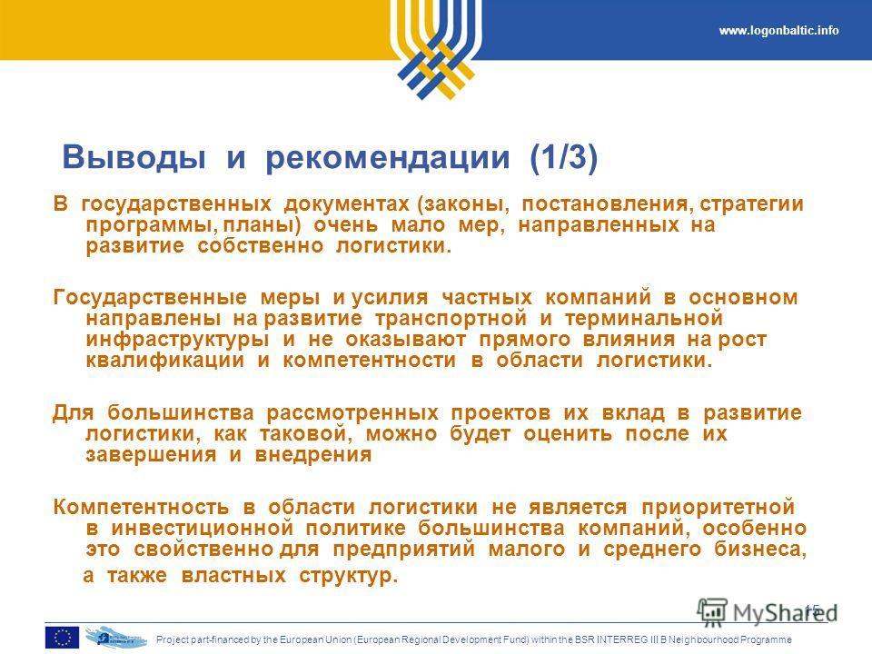 www.logonbaltic.info Project part-financed by the European Union (European Regional Development Fund) within the BSR INTERREG III B Neighbourhood Programme 15 Выводы и рекомендации (1/3) В государственных документах (законы, постановления, стратегии