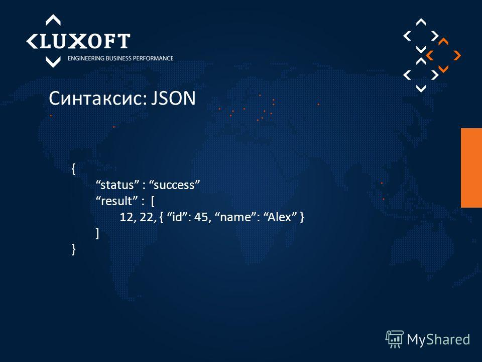 Синтаксис: JSON { status : success result : [ 12, 22, { id: 45, name: Alex } ] }