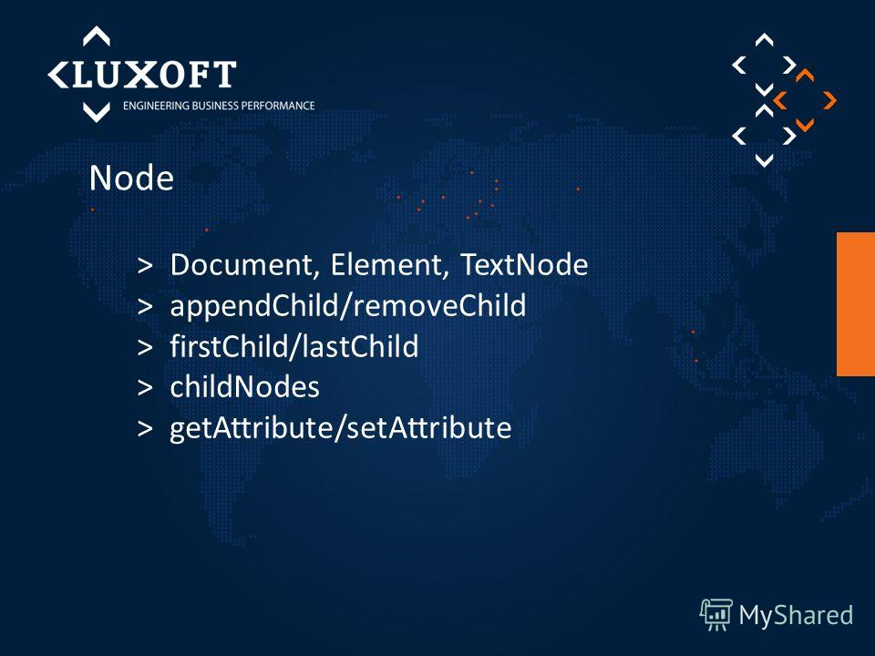 Node > Document, Element, TextNode > appendChild/removeChild > firstChild/lastChild > childNodes > getAttribute/setAttribute