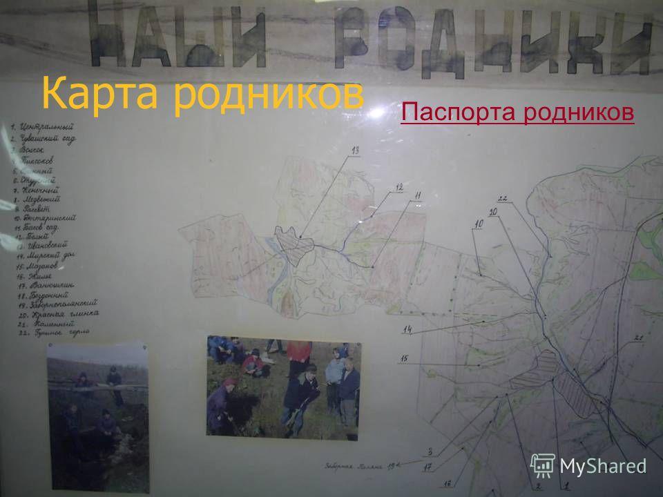 Карта родников Паспорта родников
