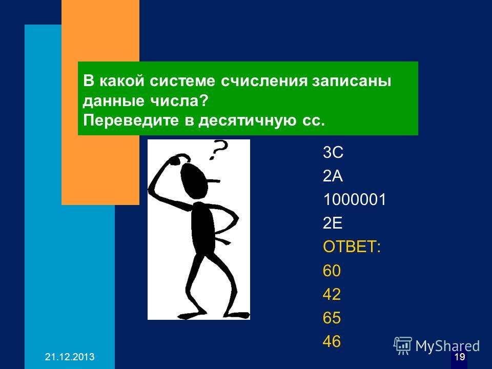 21.12.201319 В какой системе счисления записаны данные числа? Переведите в десятичную сс. 3C 2А 1000001 2Е ОТВЕТ: 60 42 65 46