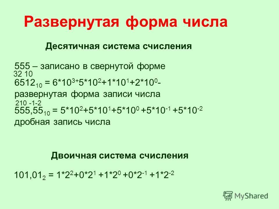 555 – записано в свернутой форме 6512 10 = 6*10 3+ 5*10 2 +1*10 1 +2*10 0 - развернутая форма записи числа 555,55 10 = 5*10 2 +5*10 1 +5*10 0 +5*10 -1 +5*10 -2 дробная запись числа Десятичная система счисления Двоичная система счисления 101,01 2 = 1*