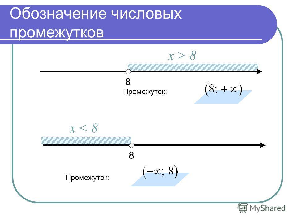 Обозначение числовых промежутков 8 х > 8 Промежуток: 8 х < 8