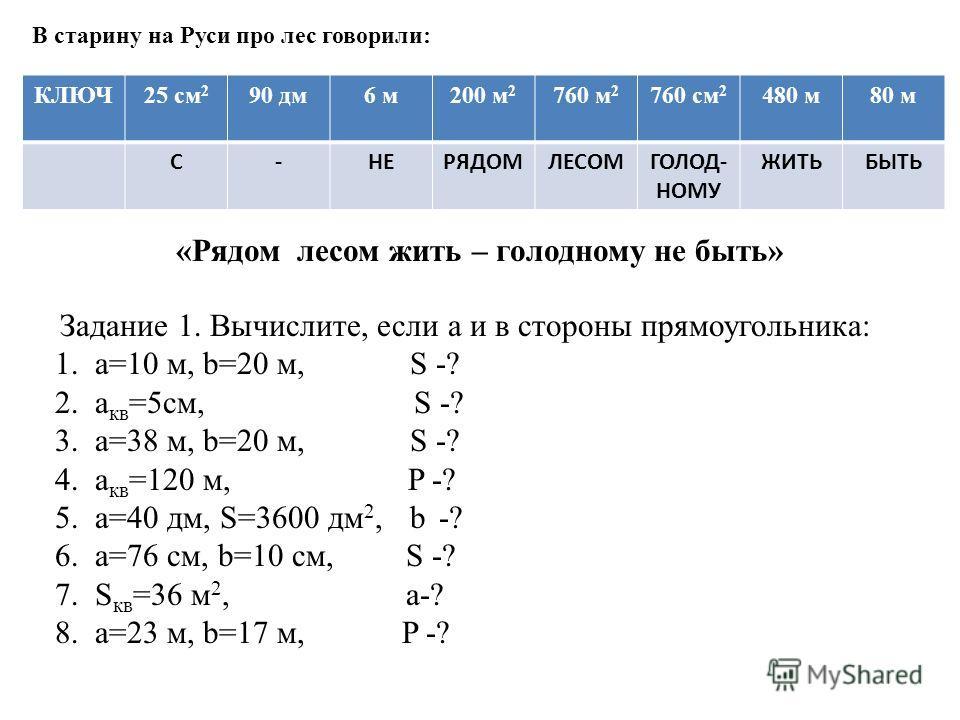 В старину на Руси про лес говорили: КЛЮЧ25 см 2 90 дм6 м200 м 2 760 м 2 760 см 2 480 м80 м С-НЕРЯДОМЛЕСОМГОЛОД- НОМУ ЖИТЬБЫТЬ Задание 1. Вычислите, если а и в стороны прямоугольника: 1. a=10 м, b=20 м, S -? 2. a кв =5см, S -? 3. a=38 м, b=20 м, S -?