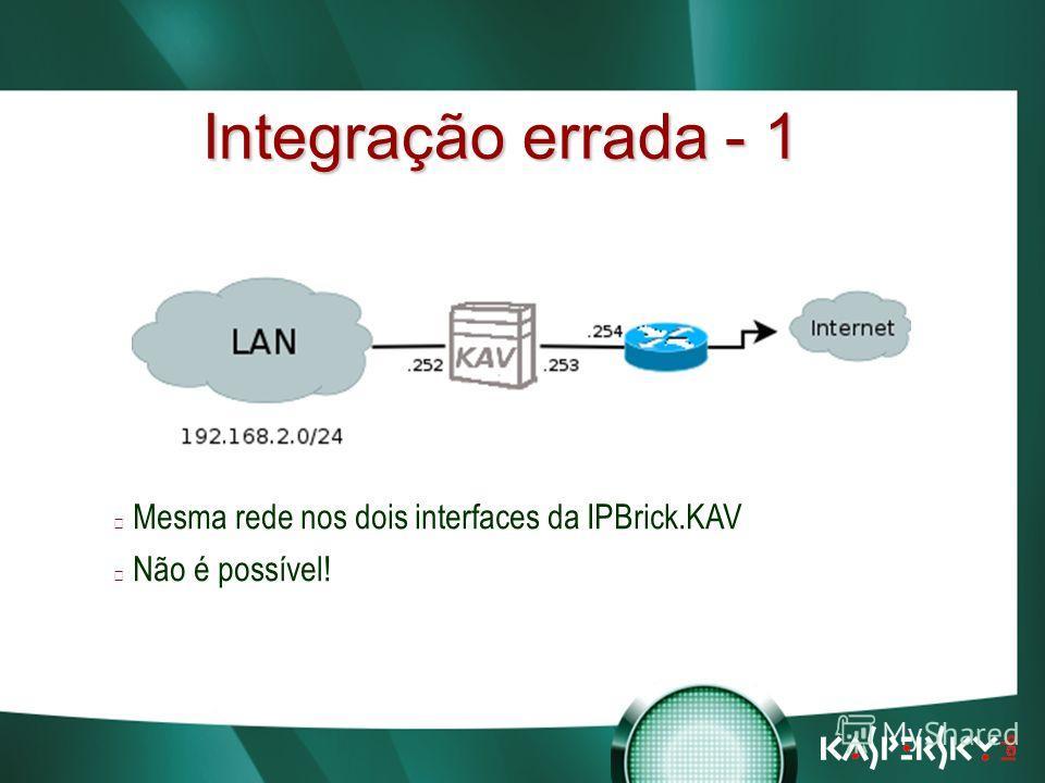 Встреча в верхах: нам покоряются любые высоты! Integração errada - 1 Mesma rede nos dois interfaces da IPBrick.KAV Não é possível!