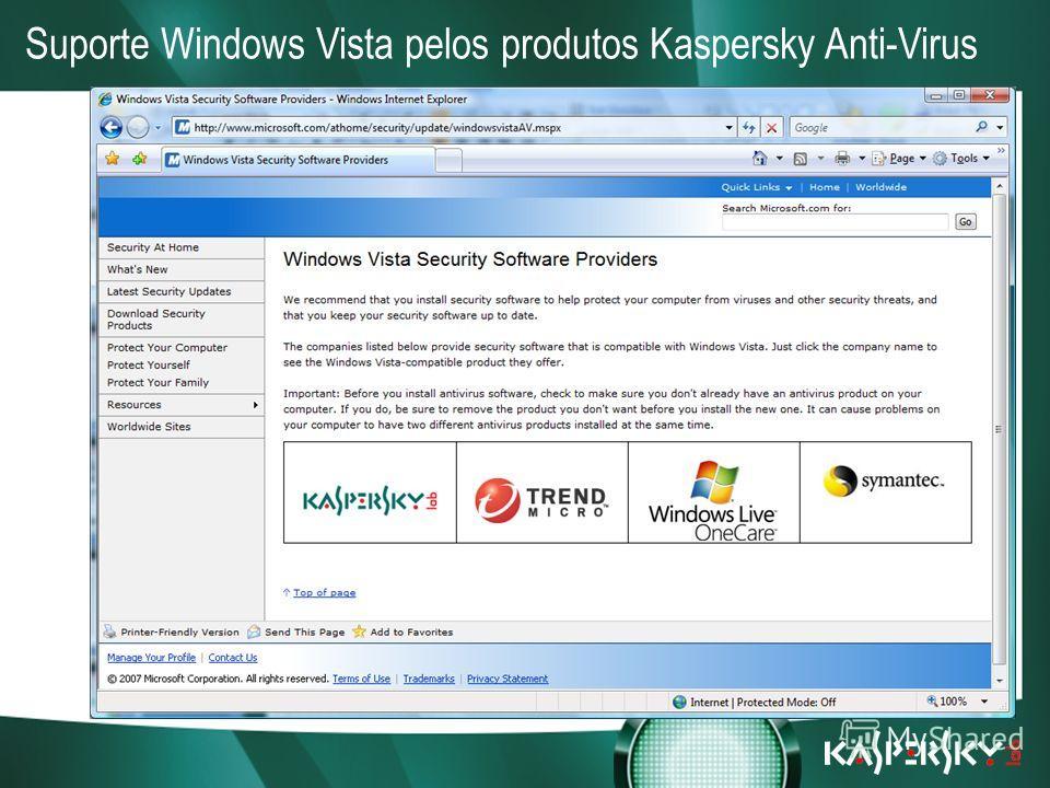 Встреча в верхах: нам покоряются любые высоты! Suporte completo para Windows Vista (tanto 32bit como 64bit) Upgrade gratuito para a versão 7.0 de todos os clientes actuais da Kaspersky Lab O Kaspersky Anti-Virus está entre as soluções recomendadas pe