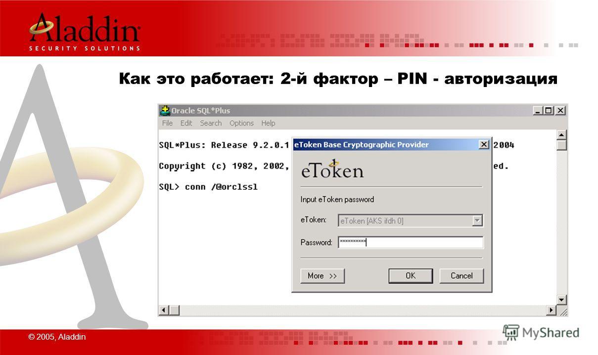 © 2005, Aladdin Как это работает: 2-й фактор – PIN - авторизация