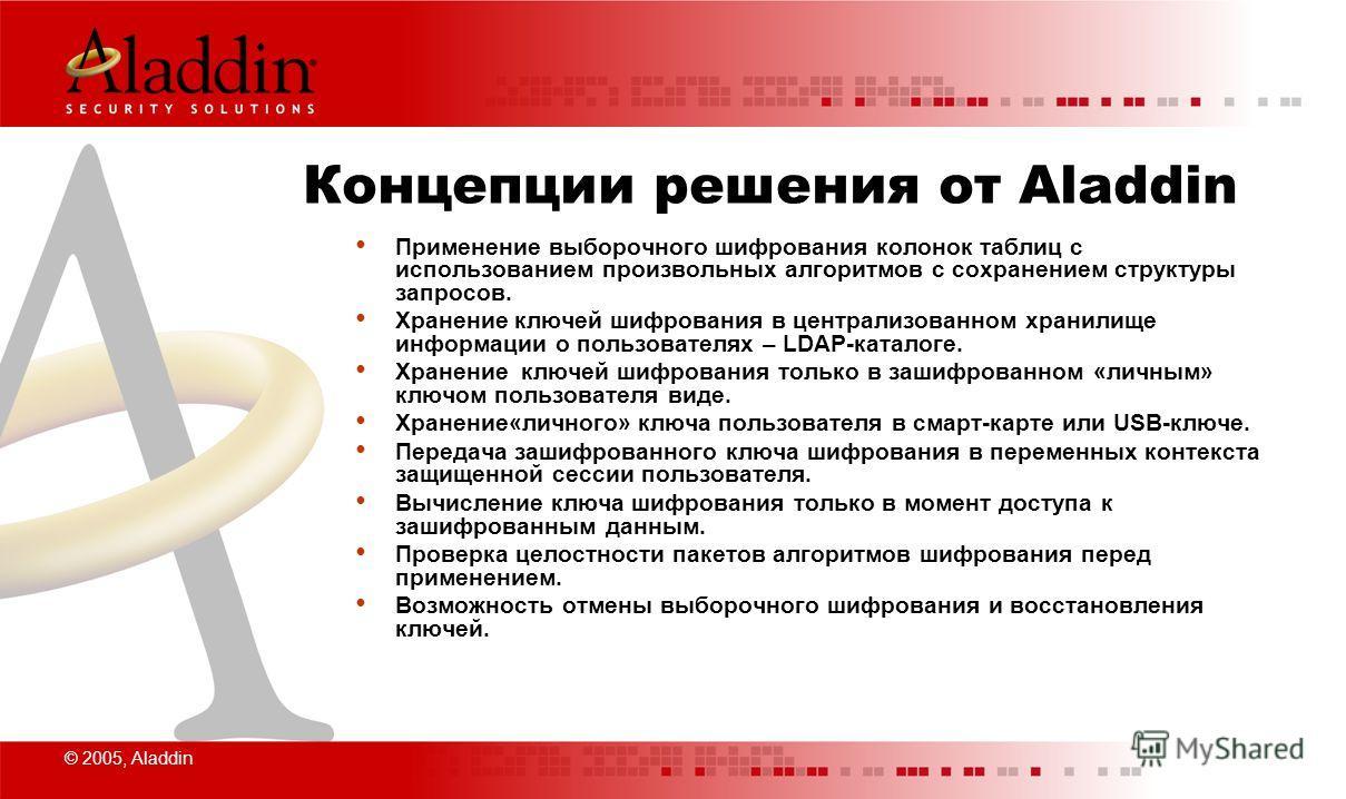 © 2005, Aladdin Концепции решения от Aladdin Применение выборочного шифрования колонок таблиц с использованием произвольных алгоритмов с сохранением структуры запросов. Хранение ключей шифрования в централизованном хранилище информации о пользователя