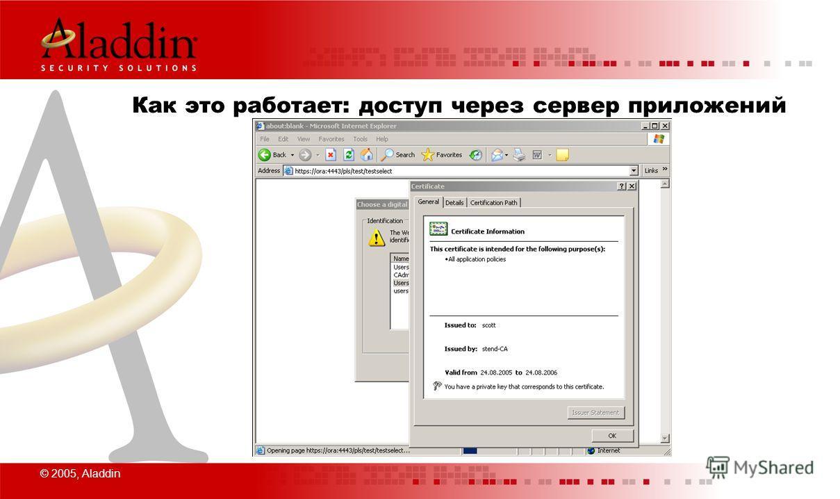 © 2005, Aladdin Как это работает: доступ через сервер приложений