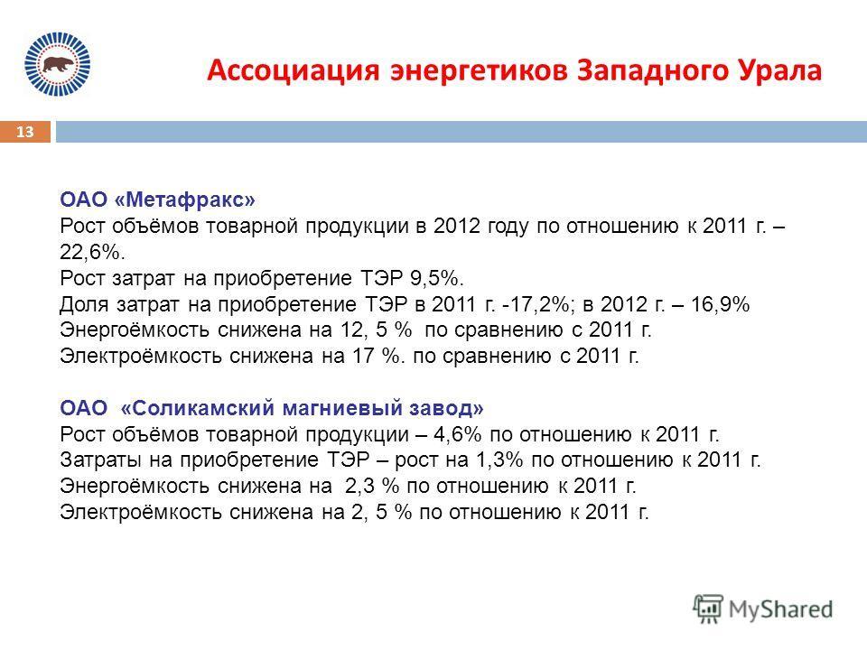13 Ассоциация энергетиков Западного Урала ОАО «Метафракс» Рост объёмов товарной продукции в 2012 году по отношению к 2011 г. – 22,6%. Рост затрат на приобретение ТЭР 9,5%. Доля затрат на приобретение ТЭР в 2011 г. -17,2%; в 2012 г. – 16,9% Энергоёмко