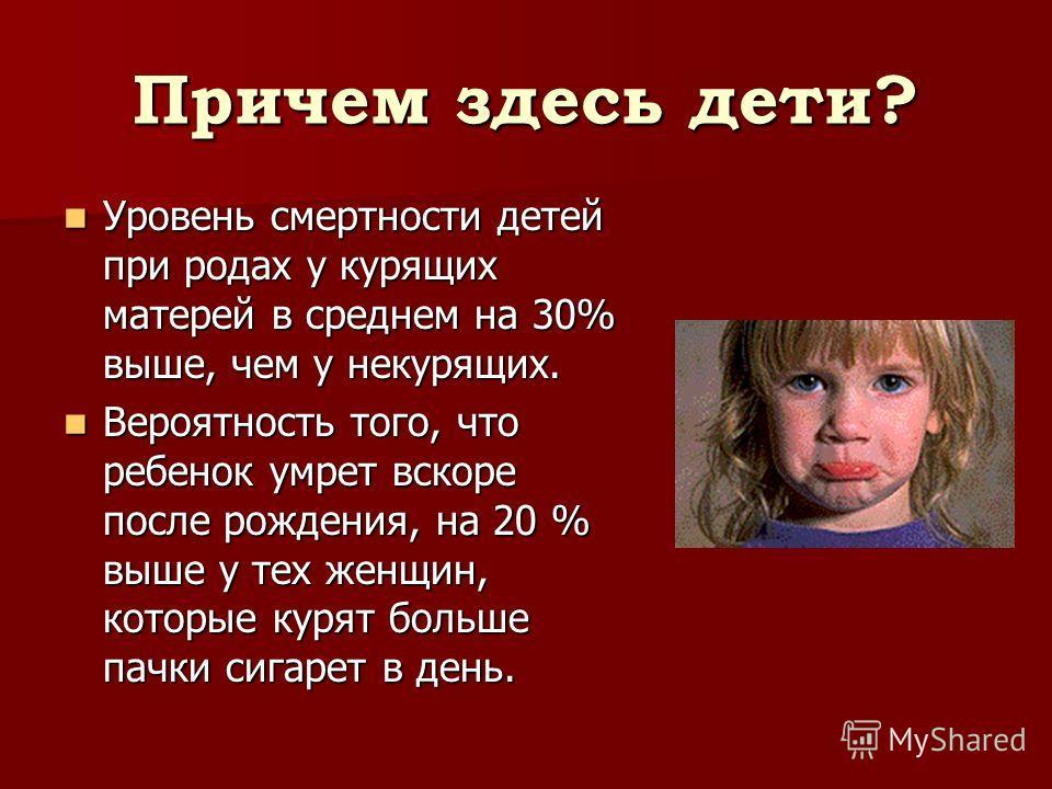 Причем здесь дети? Уровень смертности детей при родах у курящих матерей в среднем на 30% выше, чем у некурящих. Уровень смертности детей при родах у курящих матерей в среднем на 30% выше, чем у некурящих. Вероятность того, что ребенок умрет вскоре по