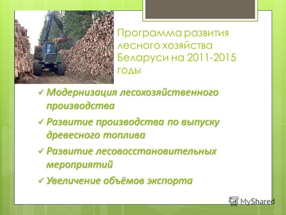 Программа развития лесного хозяйства Беларуси на 2011-2015 годы Модернизация лесохозяйственного производства Модернизация лесохозяйственного производства Развитие производства по выпуску древесного топлива Развитие производства по выпуску древесного