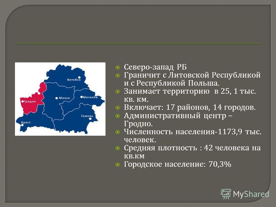 Северо - запад РБ Граничит с Литовской Республикой и с Республикой Польша. Занимает территорию в 25, 1 тыс. кв. км. Включает : 17 районов, 14 городов. Административный центр – Гродно. Численность населения -1173,9 тыс. человек. Средняя плотность : 42