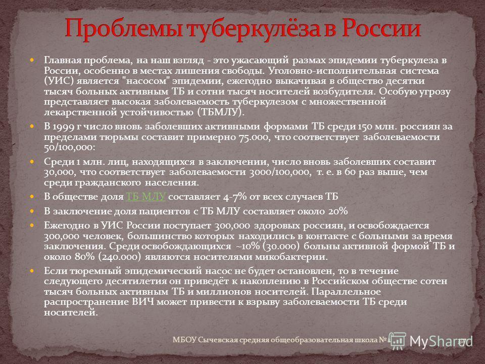 Главная проблема, на наш взгляд - это ужасающий размах эпидемии туберкулеза в России, особенно в местах лишения свободы. Уголовно-исполнительная система (УИС) является