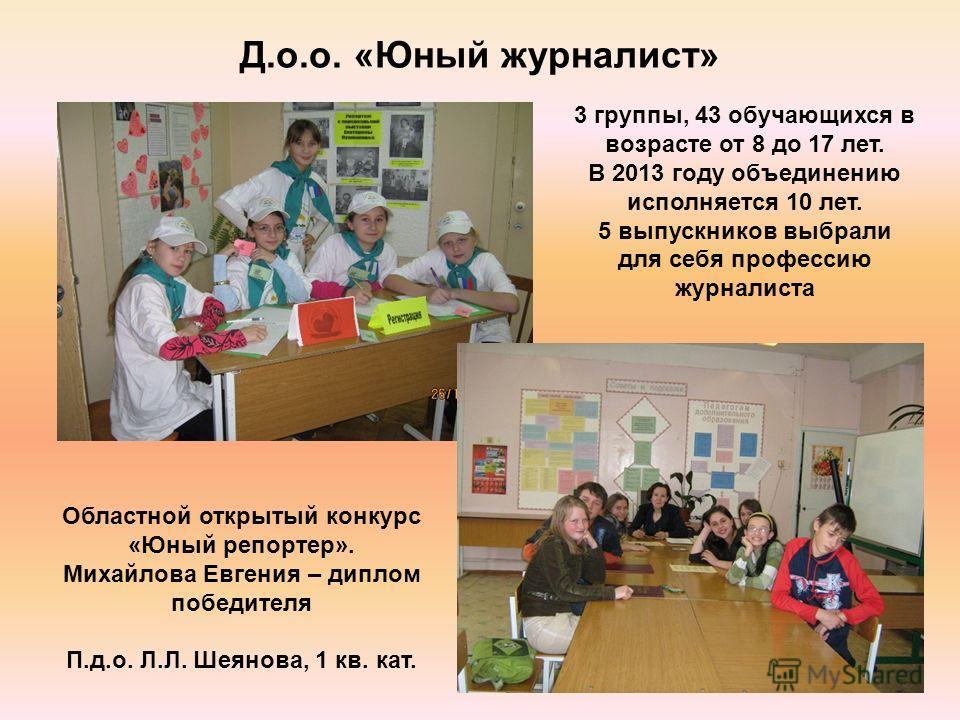 Д.о.о. «Юный журналист» Областной открытый конкурс «Юный репортер». Михайлова Евгения – диплом победителя П.д.о. Л.Л. Шеянова, 1 кв. кат. 3 группы, 43 обучающихся в возрасте от 8 до 17 лет. В 2013 году объединению исполняется 10 лет. 5 выпускников вы
