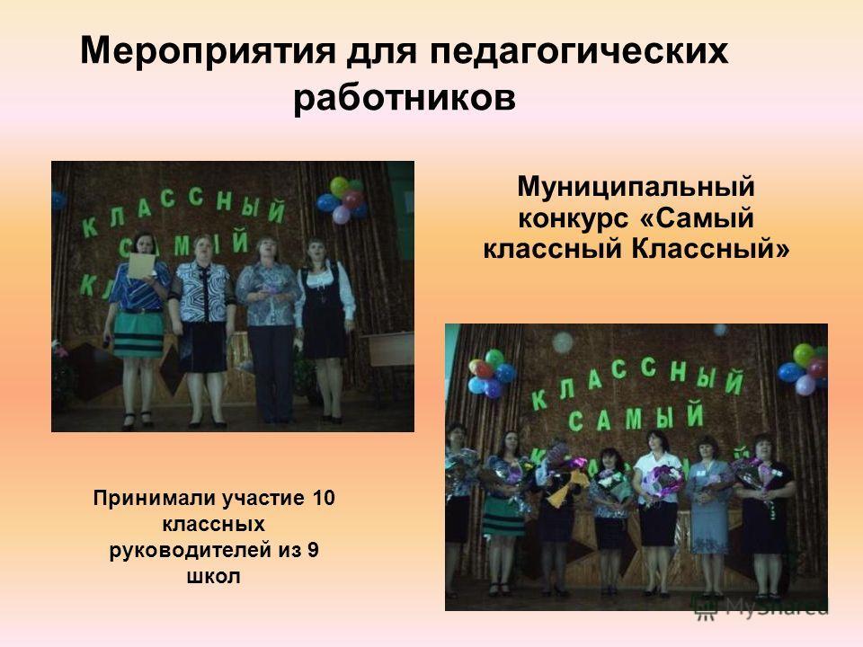 Мероприятия для педагогических работников Муниципальный конкурс «Самый классный Классный» Принимали участие 10 классных руководителей из 9 школ