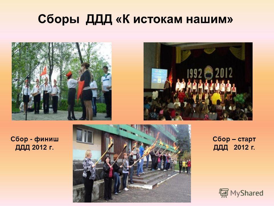Сборы ДДД «К истокам нашим» Сбор - финиш ДДД 2012 г. Сбор – старт ДДД 2012 г.