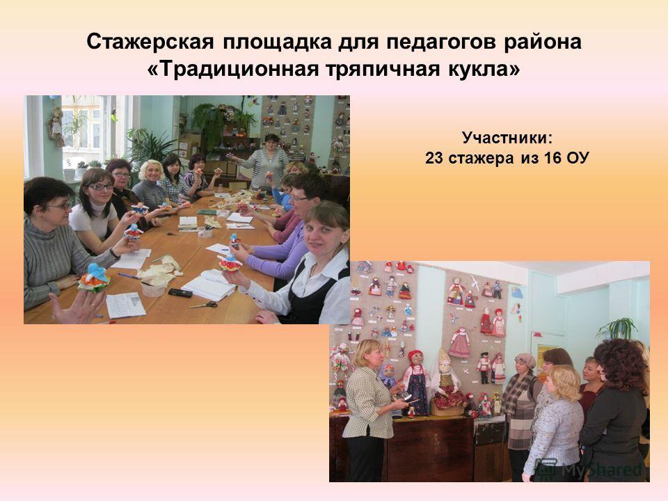 Стажерская площадка для педагогов района «Традиционная тряпичная кукла» Участники: 23 стажера из 16 ОУ
