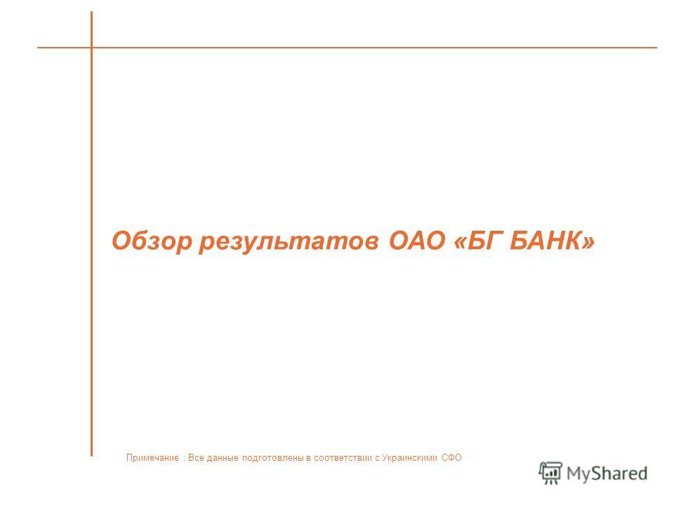 Обзор результатов ОАО «БГ БАНК» Примечание : Все данные подготовлены в соответствии с Украинскими СФО