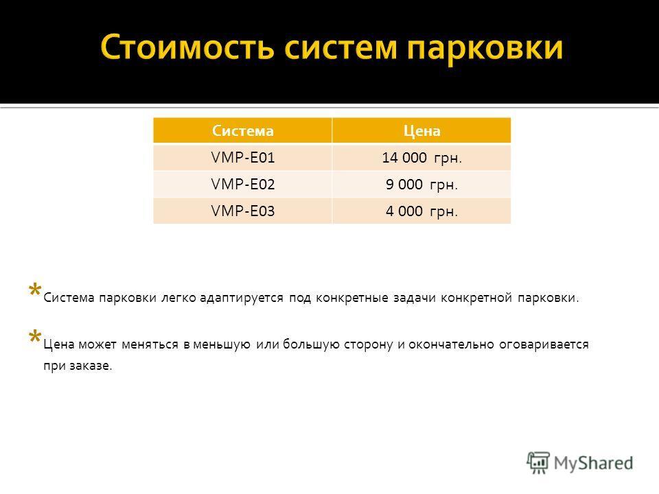 СистемаЦена VMP-E 0114 000 грн. VMP-E 029 000 грн. VMP-E 034 000 грн. * Цена может меняться в меньшую или большую сторону и окончательно оговаривается при заказе. * Система парковки легко адаптируется под конкретные задачи конкретной парковки.
