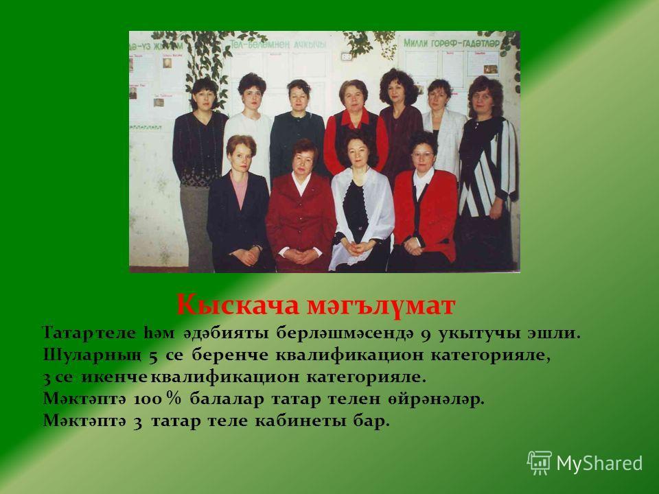 Кыскача м ә гъл ү мат Татар теле һә м ә д ә бияты берл ә шм ә сенд ә 9 укытучы эшли. Шуларны ң 5 се беренче квалификацион категорияле, 3 се икенче квалификацион категорияле. М ә кт ә пт ә 100 % балалар татар телен ө йр ә н ә л ә р. М ә кт ә пт ә 3 та