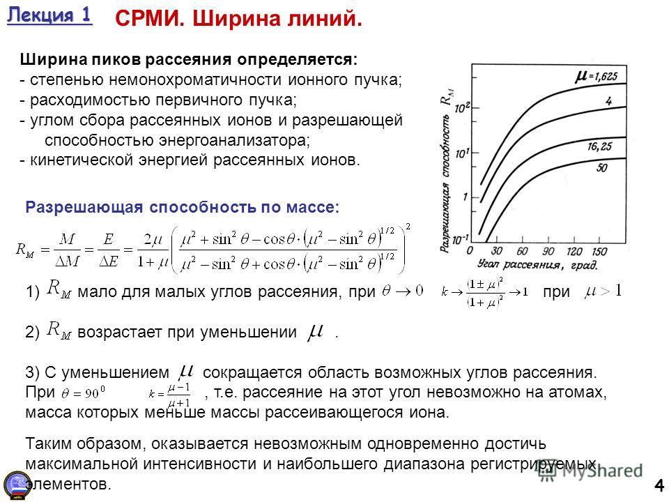 4 Лекция 1 СРМИ. Ширина линий. Ширина пиков рассеяния определяется: - степенью немонохроматичности ионного пучка; - расходимостью первичного пучка; - углом сбора рассеянных ионов и разрешающей способностью энергоанализатора; - кинетической энергией р