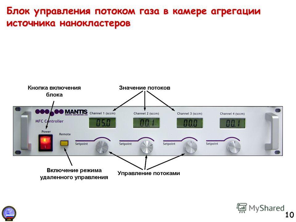 10 Блок управления потоком газа в камере агрегации источника нанокластеров