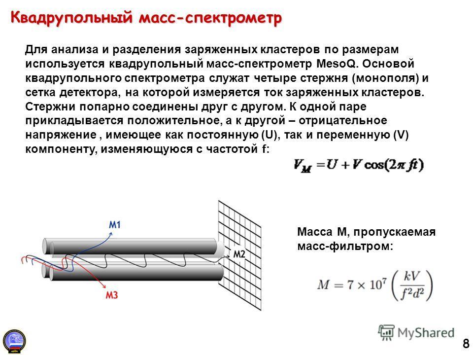8 Квадрупольный масс-спектрометр Для анализа и разделения заряженных кластеров по размерам используется квадрупольный масс-спектрометр MesoQ. Основой квадрупольного спектрометра служат четыре стержня (монополя) и сетка детектора, на которой измеряетс