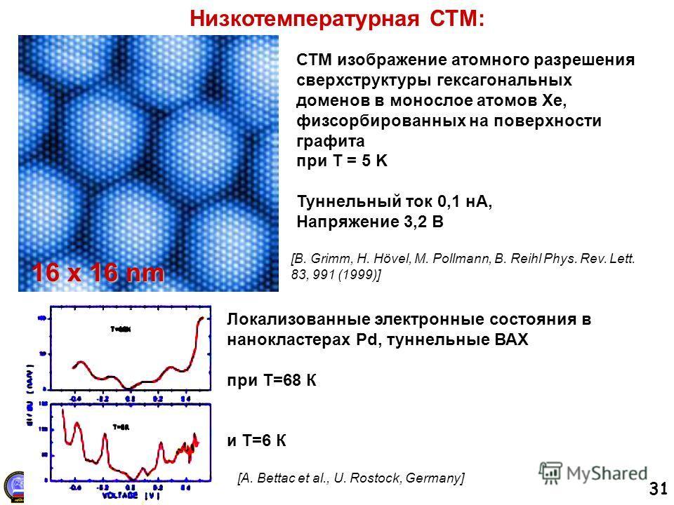 31 Низкотемпературная СТМ: [B. Grimm, H. Hövel, M. Pollmann, B. Reihl Phys. Rev. Lett. 83, 991 (1999)] СТМ изображение атомного разрешения сверхструктуры гексагональных доменов в монослое атомов Xe, физсорбированных на поверхности графита при T = 5 K