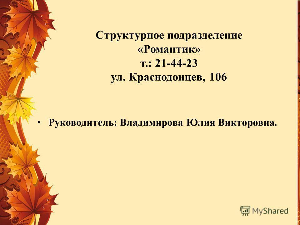 Структурное подразделение «Романтик» т.: 21-44-23 ул. Краснодонцев, 106 Руководитель: Владимирова Юлия Викторовна.