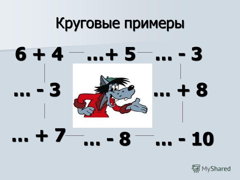 Круговые примеры 6 + 4 …+ 5 …+ 5 … - 3 … + 8 … - 10 … - 8 … + 7 … - 3