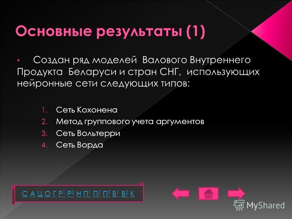 Создан ряд моделей Валового Внутреннего Продукта Беларуси и стран СНГ, использующих нейронные сети следующих типов: 1. Сеть Кохонена 2. Метод группового учета аргументов 3. Сеть Вольтерри 4. Сеть Ворда C А Ц О Г Р1 Р2 Н П1 П2 П3 В1 В2 КC А Ц О Г Р1 Р
