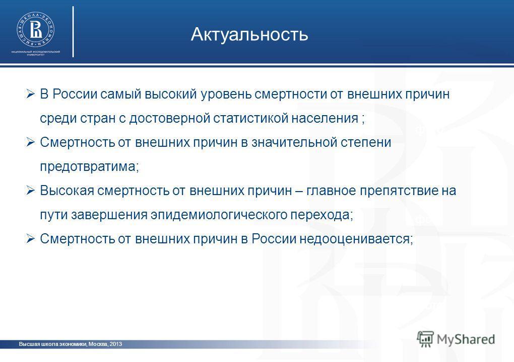 Высшая школа экономики, Москва, 2013 Актуальность фото В России самый высокий уровень смертности от внешних причин среди стран с достоверной статистикой населения ; Смертность от внешних причин в значительной степени предотвратима; Высокая смертность
