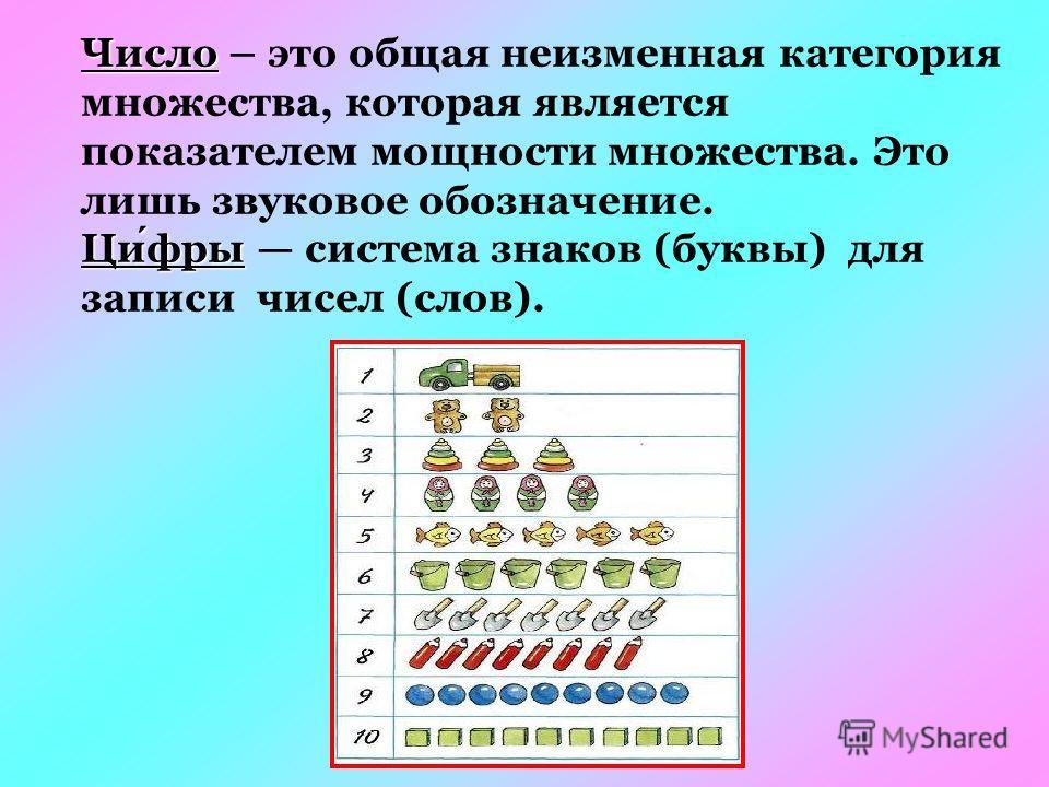 Число Число – это общая неизменная категория множества, которая является показателем мощности множества. Это лишь звуковое обозначение. Цифры Цифры система знаков (буквы) для записи чисел (слов).