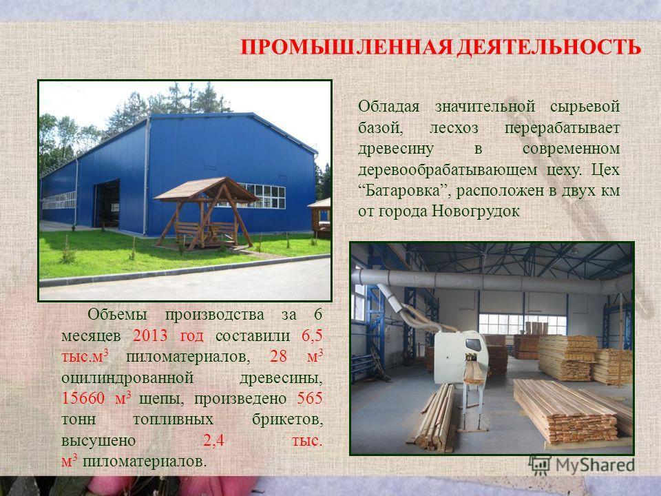 ПРОМЫШЛЕННАЯ ДЕЯТЕЛЬНОСТЬ Обладая значительной сырьевой базой, лесхоз перерабатывает древесину в современном деревообрабатывающем цеху. Цех Батаровка, расположен в двух км от города Новогрудок Объемы производства за 6 месяцев 2013 год составили 6,5 т