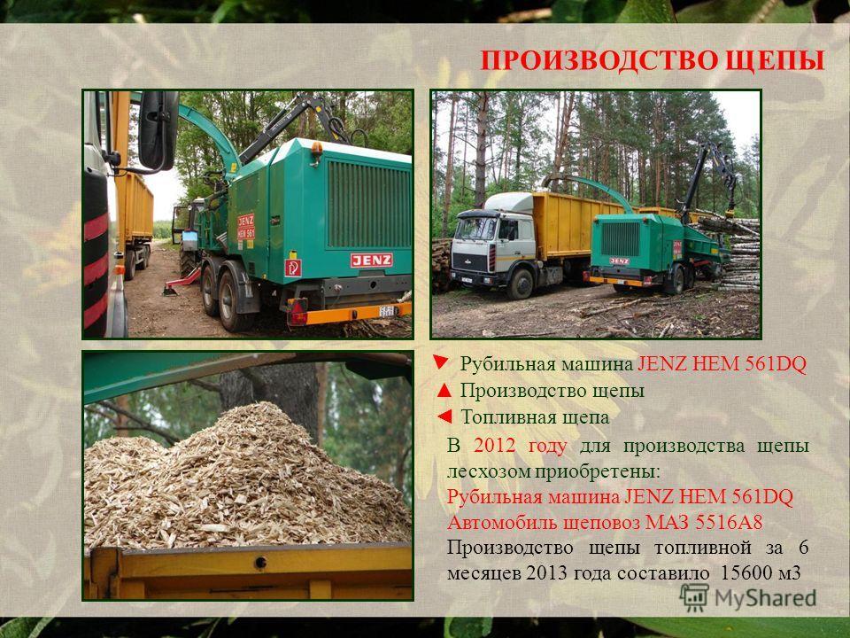 ПРОИЗВОДСТВО ЩЕПЫ В 2012 году для производства щепы лесхозом приобретены: Рубильная машина JENZ HEM 561DQ Автомобиль щеповоз МАЗ 5516А8 Производство щепы топливной за 6 месяцев 2013 года составило 15600 м3 Топливная щепа Рубильная машина JENZ HEM 561