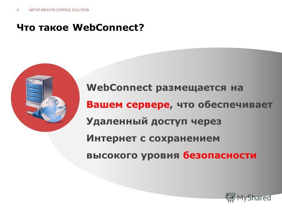 Что такое WebConnect? NETOP REMOTE CONTROL SOLUTION4 WebConnect размещается на Вашем сервере, что обеспечивает Удаленный доступ через Интернет с сохранением высокого уровня безопасности