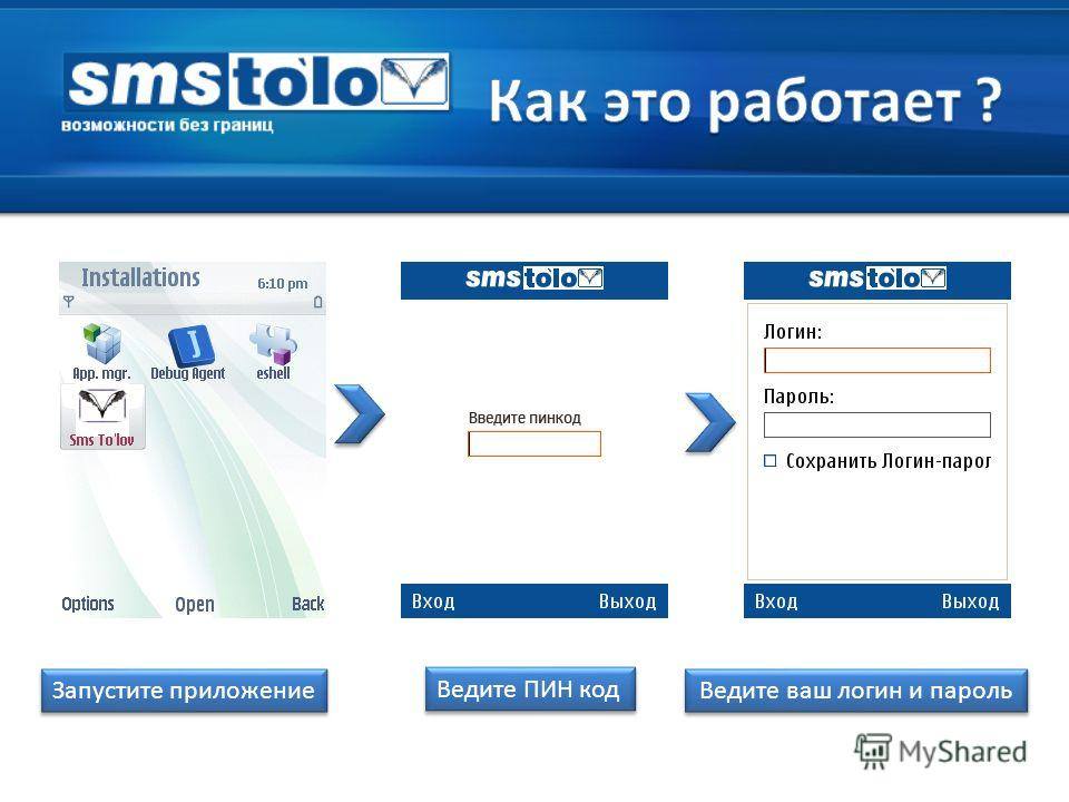 Запустите приложение Ведите ПИН код Ведите ваш логин и пароль