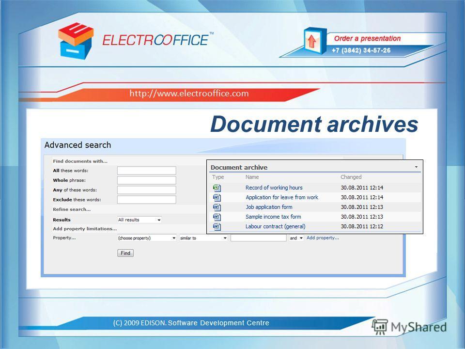 EDISON. Центр разработки программного обеспечения http://www.edsd.ru Образец заголовка (С) 2009 EDISON. Центр разработки программного обеспечения http://www.electrooffice.com Document archives