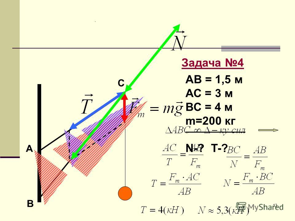 13 А В С Задача 4 АВ = 1,5 м АС = 3 м ВС = 4 м m=200 кг N-? T-?