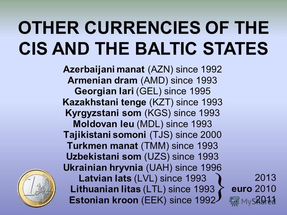 Azerbaijani manat (AZN) since 1992 Armenian dram (AMD) since 1993 Georgian lari (GEL) since 1995 Kazakhstani tenge (KZT) since 1993 Kyrgyzstani som (KGS) since 1993 Moldovan leu (MDL) since 1993 Tajikistani somoni (TJS) since 2000 Turkmen manat (TMM)