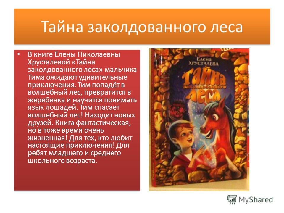 Тайна заколдованного леса В книге Елены Николаевны Хрусталевой «Тайна заколдованного леса» мальчика Тима ожидают удивительные приключения. Тим попадёт в волшебный лес, превратится в жеребенка и научится понимать язык лошадей. Тим спасает волшебный ле