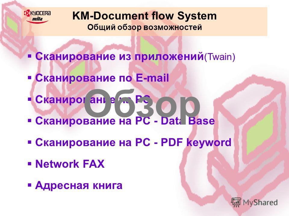 KM-Document flow System Общий обзор возможностей Сканирование из приложений (Twain) Сканирование по E-mail Сканирование на PC Сканирование на PC - Data Base Сканирование на PC - PDF keyword Network FAX Адресная книга Обзор