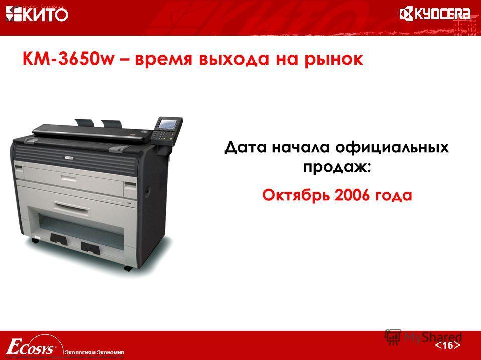 16 Экология и Экономия KM-3650w – время выхода на рынок Дата начала официальных продаж: Октябрь 2006 года