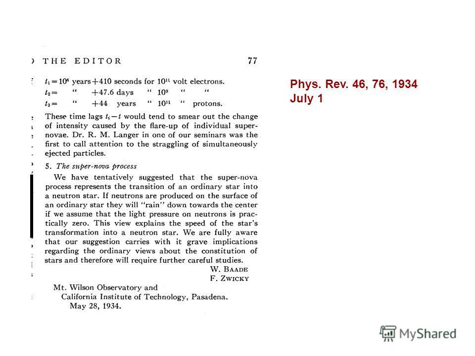 Phys. Rev. 46, 76, 1934 July 1