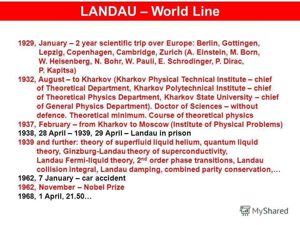 LANDAU – World Line 1929, January – 2 year scientific trip over Europe: Berlin, Gottingen, Lepzig, Copenhagen, Cambridge, Zurich (A. Einstein, M. Born, W. Heisenberg, N. Bohr, W. Pauli, E. Schrodinger, P. Dirac, P. Kapitsa) 1932, August – to Kharkov