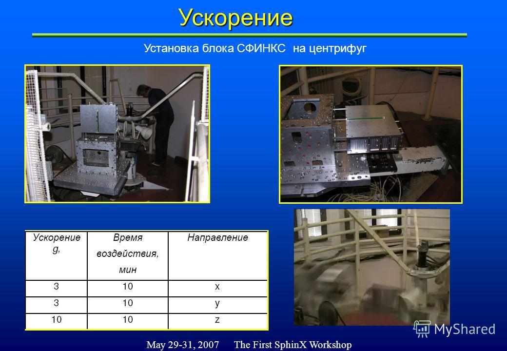 May 29-31, 2007 The First SphinX WorkshopУскорение Установка блока СФИНКС на центрифуг